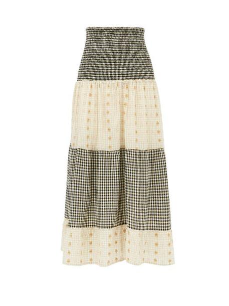 Ace & Jig - Daphne Checked Cotton-blend Fil Coupé Midi Skirt - Womens - Black White