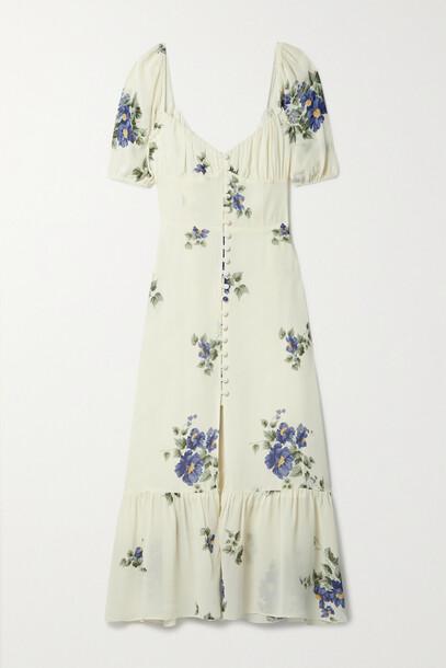 Reformation - + Net Sustain Charlee Floral-print Georgette Midi Dress - Cream