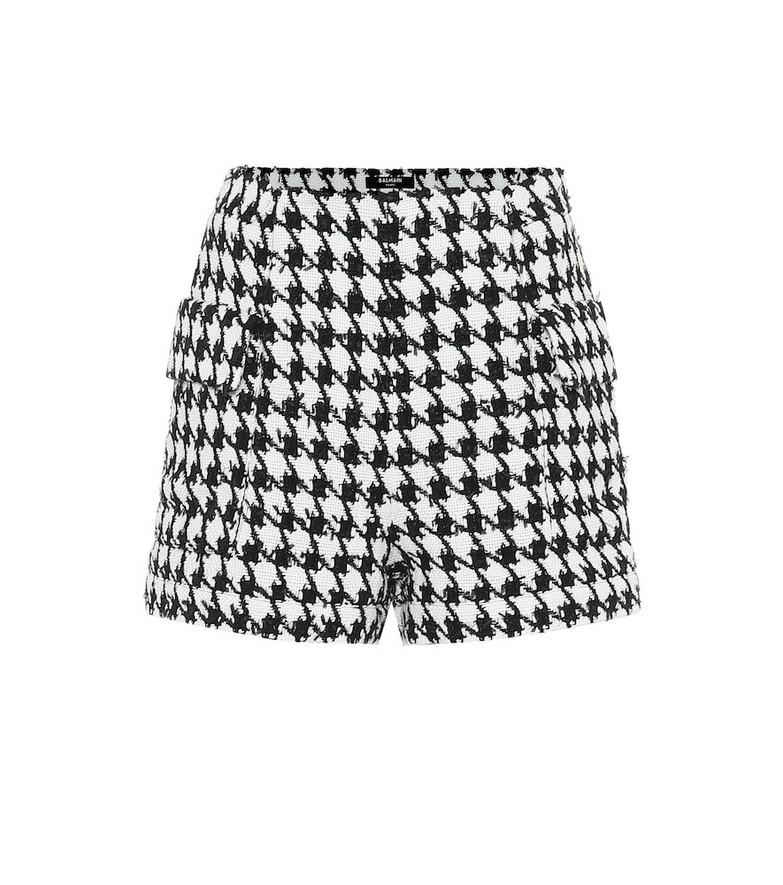 Balmain Houndstooth cotton-blend shorts in black