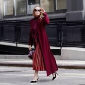 skirt,red skirt,pleated skirt,midi skirt,slingbacks,red coat,long coat,turtleneck,handbag