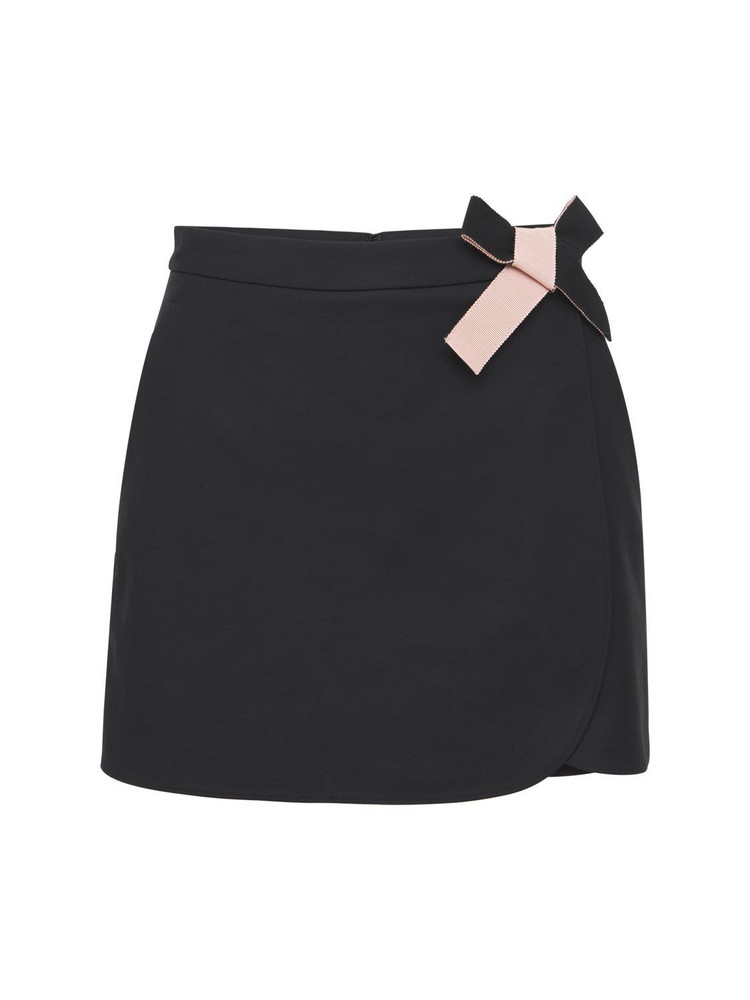 RED VALENTINO Stretch Crepe Shorts W/ Bow in black
