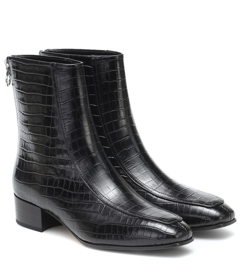 Aeydē Amelia croc-effect ankle boots in black