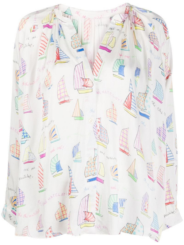 Mira Mikati sail boat print blouse in white