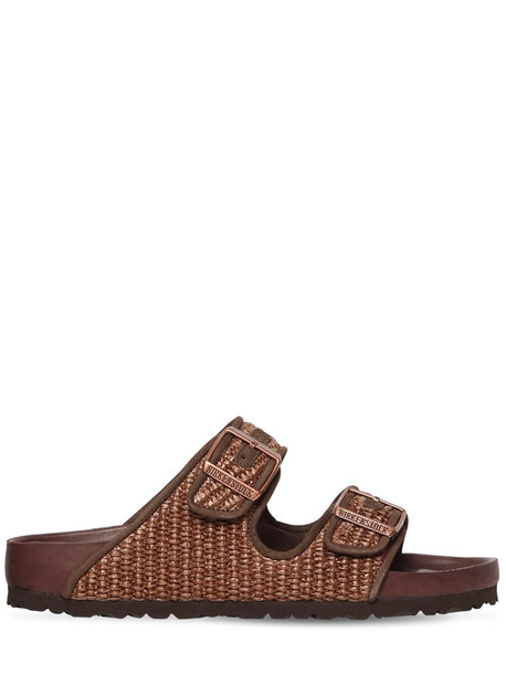 BIRKENSTOCK X IL DOLCE FAR NIENTE 20mm Arizona Raffia Effect Sandals in brown