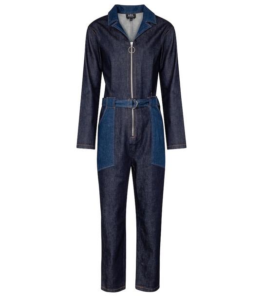 A.P.C. Rosie belted denim jumpsuit in blue