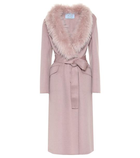 Prada Fur-trimmed wool-blend coat in pink