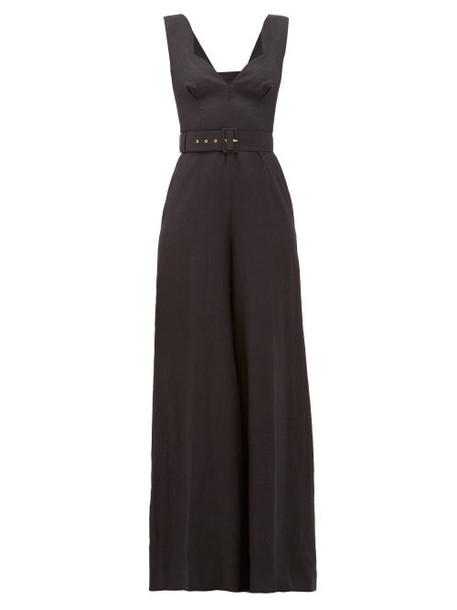 Emilia Wickstead - Rosabel Belted Linen Wide Leg Jumpsuit - Womens - Black