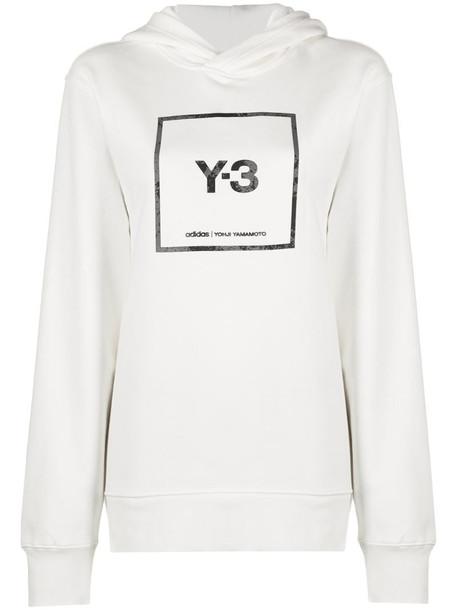 Y-3 logo print hoodie in white