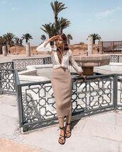 skirt,midi skirt,knitted skirt,nude skirt,sandals,shirt,white shirt