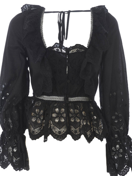 Self-portrait Embroidered Lace Blouse in nero