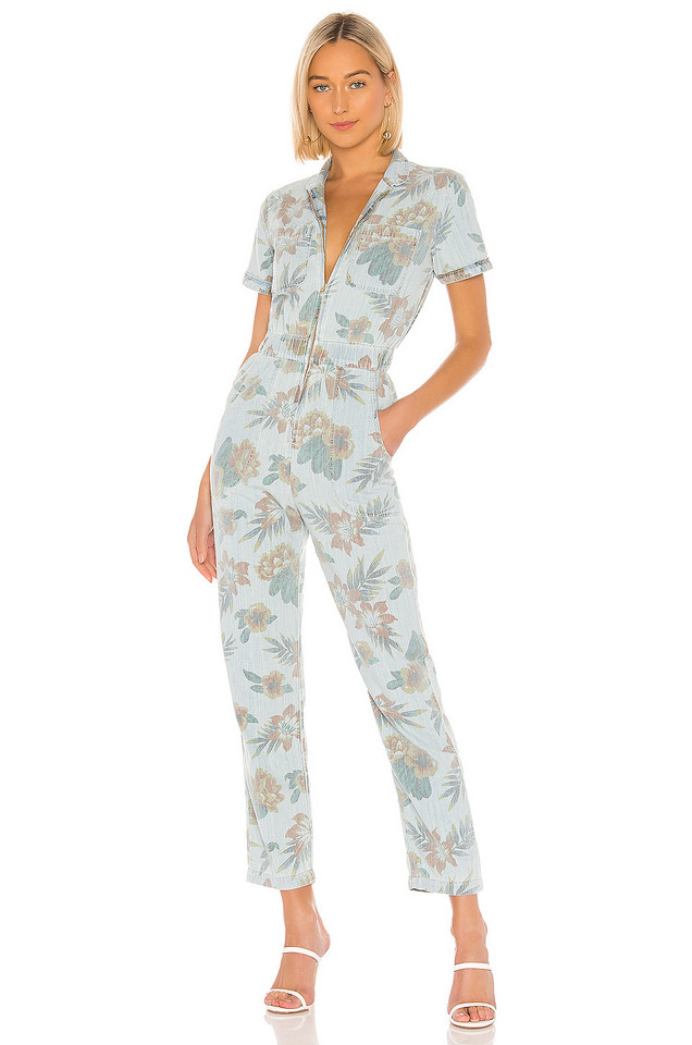 MOTHER The Zip Up Short Sleeve Jumpsuit