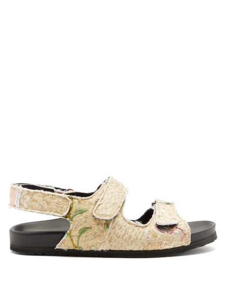 By Walid - Felix Velcro-strap Embroidered Sandals - Womens - Multi