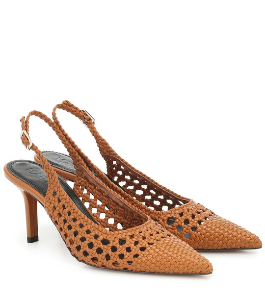 Souliers Martinez Badajoz woven leather slingback pumps in brown
