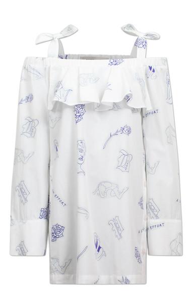 Baum und Pferdgarten Arina Stap Dress With Off-Shoulder Detail in white
