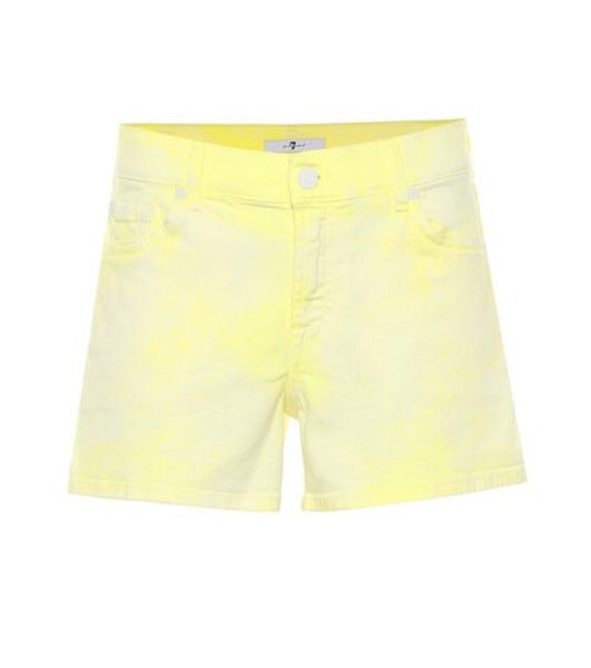 7 For All Mankind Mid-rise denim shorts in yellow