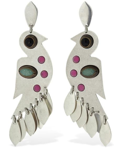 ISABEL MARANT Birdy Studded Pendant Earrings in fuchsia / silver