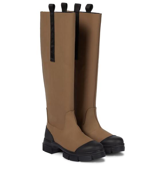 GANNI Rubber knee-high boots in beige