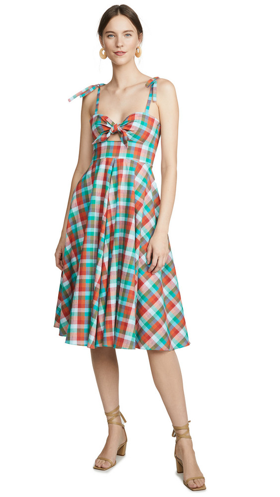 Rachel Antonoff Ali Midi Dress in green / orange / multi