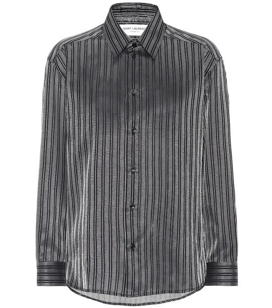 Saint Laurent Striped cotton-blend lamé shirt in silver