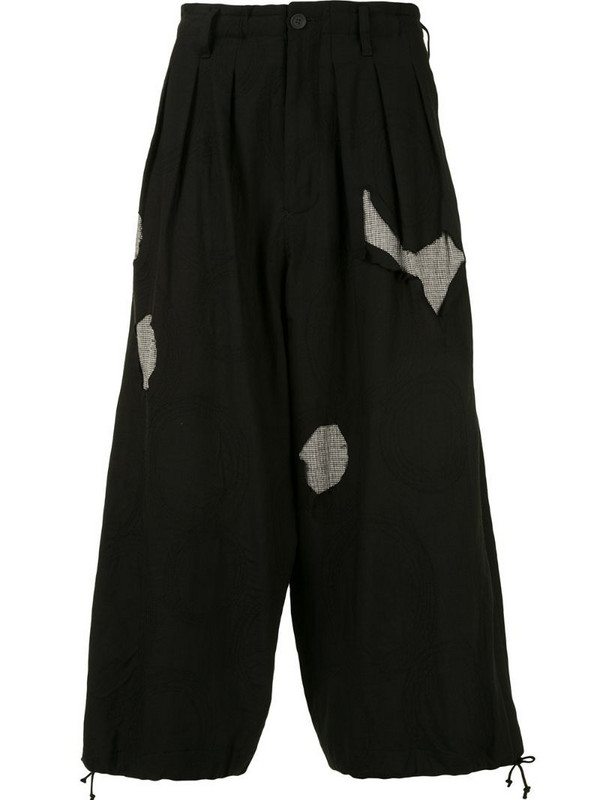 Yohji Yamamoto ripped-effect cropped trousers in black