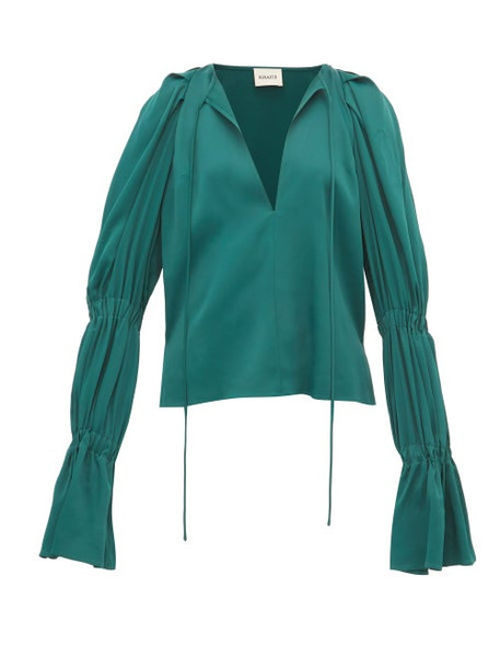 Khaite - Cortez Shirred Sleeve Satin Blouse - Womens - Green