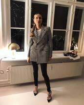 jacket,black and white,plaid,pernille teisbaek,blogger style,blogger