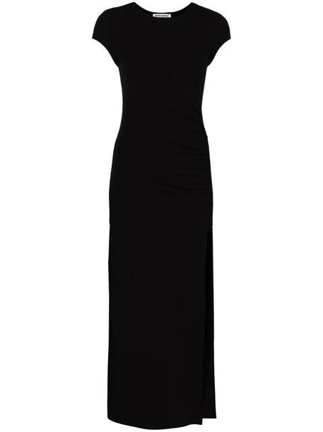 Reformation Brecken ruched midi dress in black