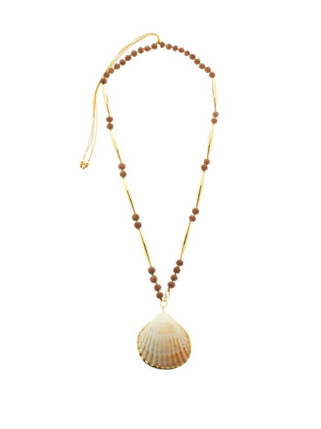 Tohum - Shell 24kt Gold-plated Beaded Necklace - Womens - Brown Multi