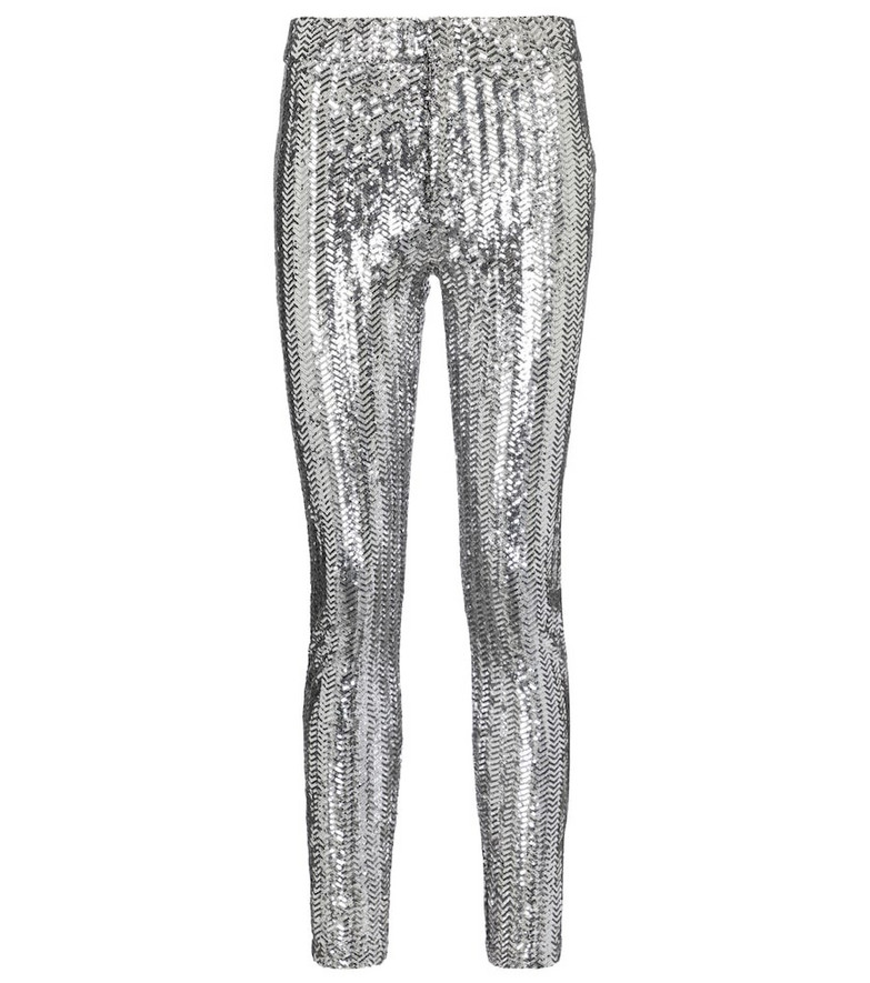 Isabel Marant Todiz sequined high-rise skinny pants in silver