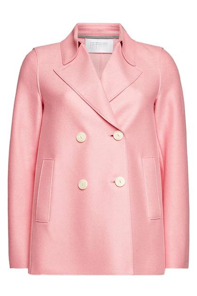 Harris Wharf London Virgin Wool Pea Coat  in pink
