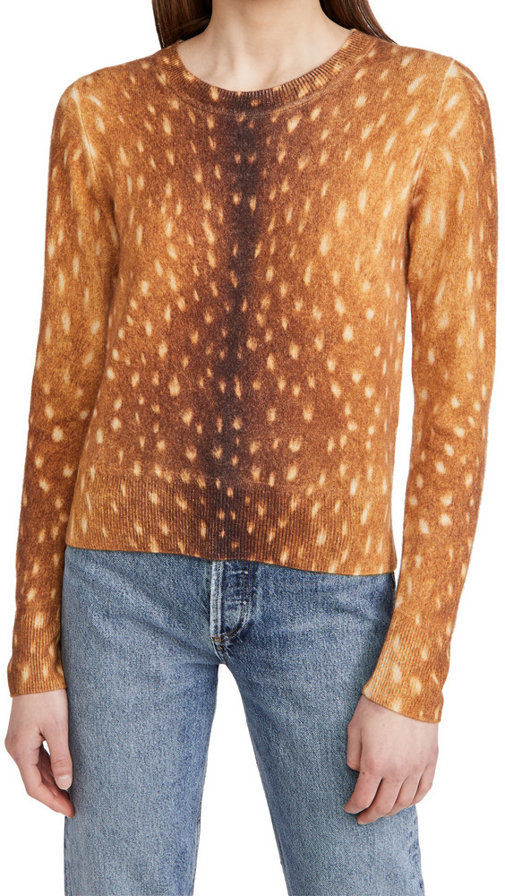 Naadam Animal Print Crew Neck Cashmere Sweater in brown