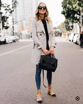 coat,trench coat,slingbacks,skinny jeans,black bag,black sweater,black sunglasses