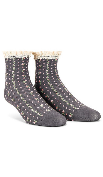 Free People Rosebud Waffle Knit Anklet Socks in Grey in charcoal