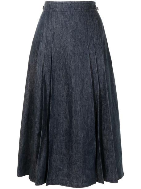 Gabriela Hearst Lerna pleated skirt in blue