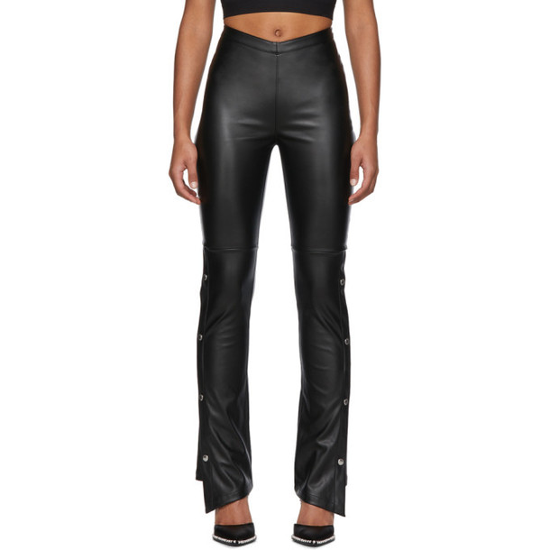 alexanderwang.t Black Faux-Leather Side Snap Trousers