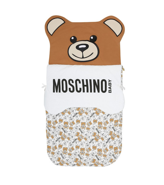 Moschino Kids Baby stretch-cotton bunting bag in brown