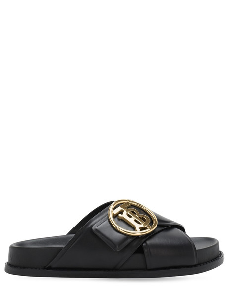 BURBERRY 35mm Wallsall Leather Flats in black