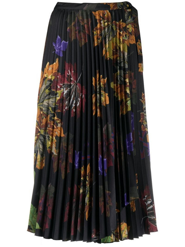 Off-White floral print pleated midi skirt in black