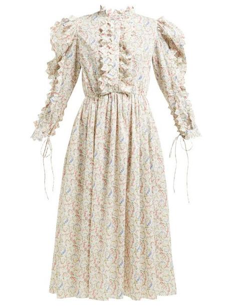 Horror Vacui - Triangula Floral Print Cotton Maxi Dress - Womens - Ivory Multi