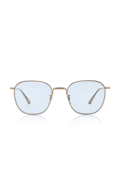 Oliver Peoples THE ROW Board Meeting Square-Frame Metal Sunglasses in blue