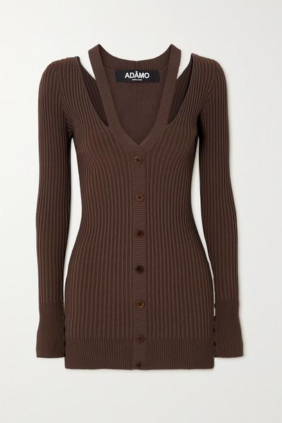 ANDREA ADAMO - Layered Cutout Ribbed-knit Mini Dress - Brown