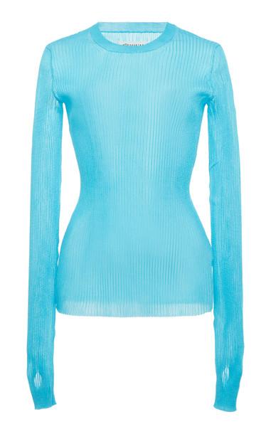 Maison Margiela Rib-Knit Top in blue