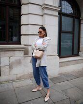 jacket,grey blazer,ballet flats,mom jeans,white t-shirt,bag