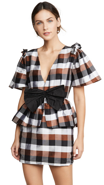 Viva Aviva Agatha V Neck Mini Dress in black / brown
