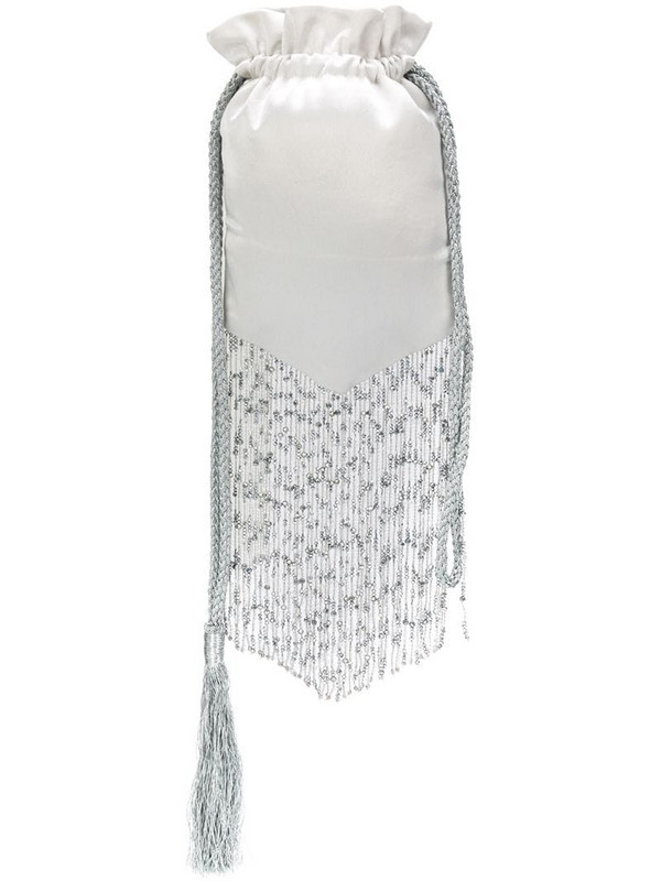 Galvan Cascade beaded fringes pouch in neutrals