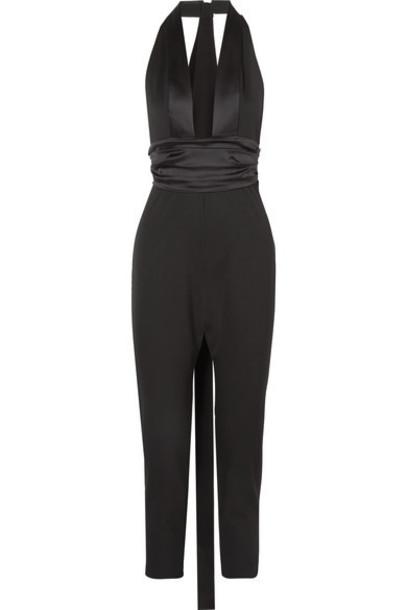 Dundas - Satin-trimmed Grain De Poudre Wool-blend Jumpsuit - Black