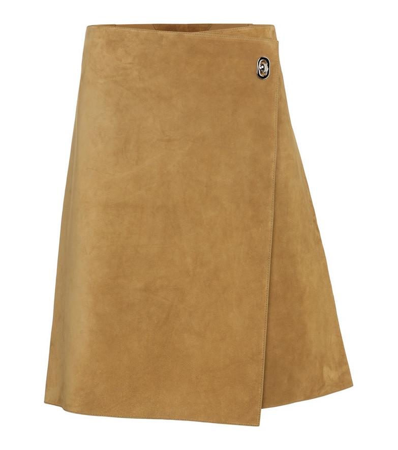 Bottega Veneta Suede wrap skirt in beige