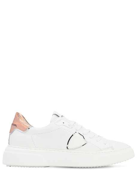 PHILIPPE MODEL Temple Veau Neon Leather Sneakers in gold / rose / white