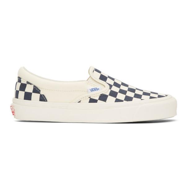 Vans Blue & White OG Checkerboard Classic Slip-On Sneakers