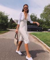 sweater,black cardigan,midi dress,white dress,white sneakers,bag